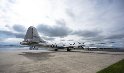 Engines start on the Boeing B-29 Superfortress 'Doc' for a local flight at Manassas Regional Airport/Harry P. Davis Field in northern Virginia after the Arsenal of Democracy flyover of Washington, D.C., was scrubbed for weather September 26. Photo by David Tulis.