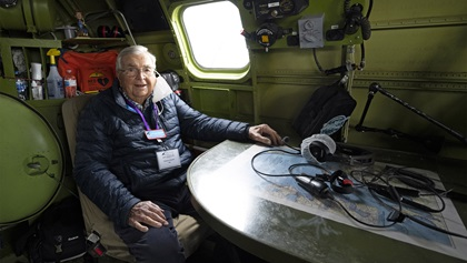 Retired U.S. Air Force Lt. Col. Robert Vaucher takes a position in the navigator's seat of he Boeing B-29 'Doc' before the Arsenal of Democracy flyover of Washington, D.C., was scrubbed by weather on September 25, 2020. AOPA Photo by David Tulis.