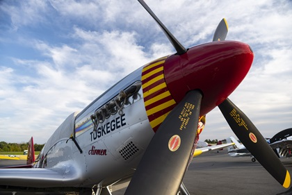 A North American P-51 Mustang honors the Tuskegee Airmen after preparation for the Arsenal of Democracy flyover of Washington, D.C. Nearly 70 World War II warbirds will help recognize the seventy-fifth anniversary of Victory in Europe Day. Photo by David Tulis.