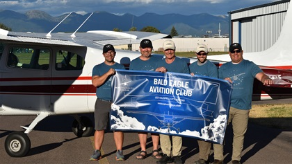 Bald Eagle Aviation Club operates a 1957 straight-tail Cessna 182A from Kalispell City Airport in Montana and is the 150th flying club assisted by the AOPA Flying Clubs Initiative. Photo courtesy of the Bald Eagle Aviation Club.