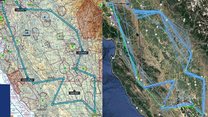 The map on the left shows the 2020 Hayward Air Rally course, planned to fly over various mandatory checkpoints, while the map on the right shows the actual GPS track data from most of the rally aircraft. Images courtesy of the Hayward Air Rally.