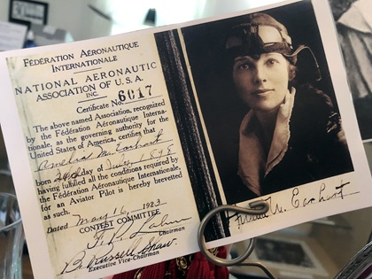 Among the gift shop items at the Amelia Earhart Birthplace Museum are postcards with photos of Earhart through the years. Photo by MeLinda Schnyder.