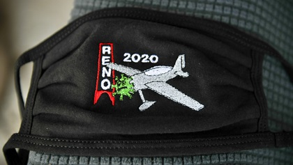 This embroidered face mask captures the sentiments of many in the Reno Air Races community. The 2020 races were canceled because of the coronavirus pandemic. Photo by Joanne Murray.