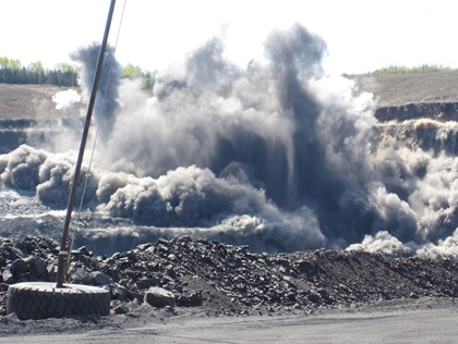 A Minnesota mine is blasted during the ore extraction process at ArcelorMittal USA. Photo courtesy of ArcelorMittal USA.