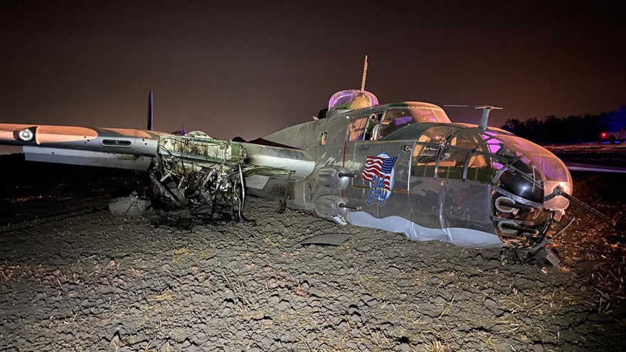 'Old Glory,' a North American B-25 Mitchell bomber that had recently participated in an aerial parade in Hawaii commemorating the seventy-fifth anniversary of the end of World War II, was damaged during a forced landing near Stockton, California. Photo courtesy of San Joaquin County Sheriff's Office.