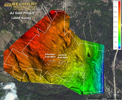 A lidar survey performed by Pioneer Exploration Consultants for Belmont Resources Inc. Lidar imaging revealed roads previously unknown to Belmont; the images can be overlaid on a magnetic survey of the same area for more guidance on where to drill. Image courtesy of Belmont Resources Inc.