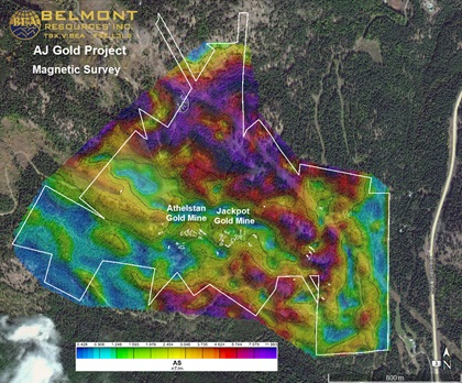 Data from a magnetic survey performed by Pioneer Exploration Consultants is translated into an image that can be overlaid onto a topographic survey of the same area that guides mining operators where to drill. The two types of imaging reveal different characteristics of the surface and what is below. Image courtesy of Belmont Resources Inc.