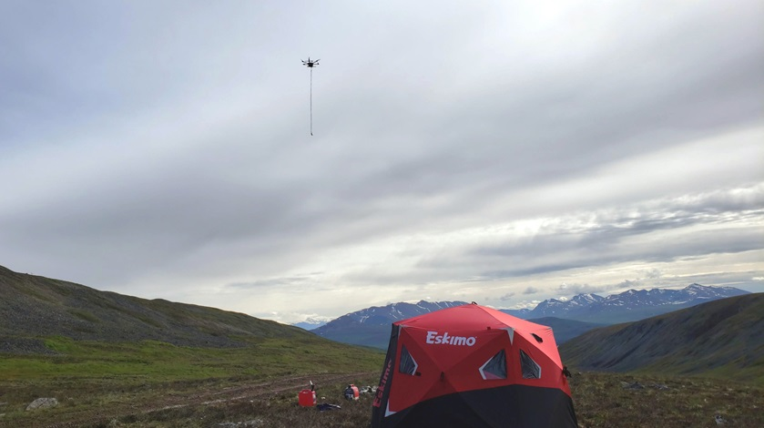 A typical UAS team field setup with an unmanned flight in progress controlled from a ground control station tent. This operation was conducted in Alaska. Photo courtesy of Pioneer Exploration Consultants.