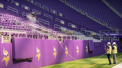 SkySkopes has adapted to the coronavirus pandemic, in part, by offering new services such as spraying disinfectant in U.S. Bank Stadium in Minneapolis, home of the Minnesota Vikings. Photo courtesy of SkySkopes.