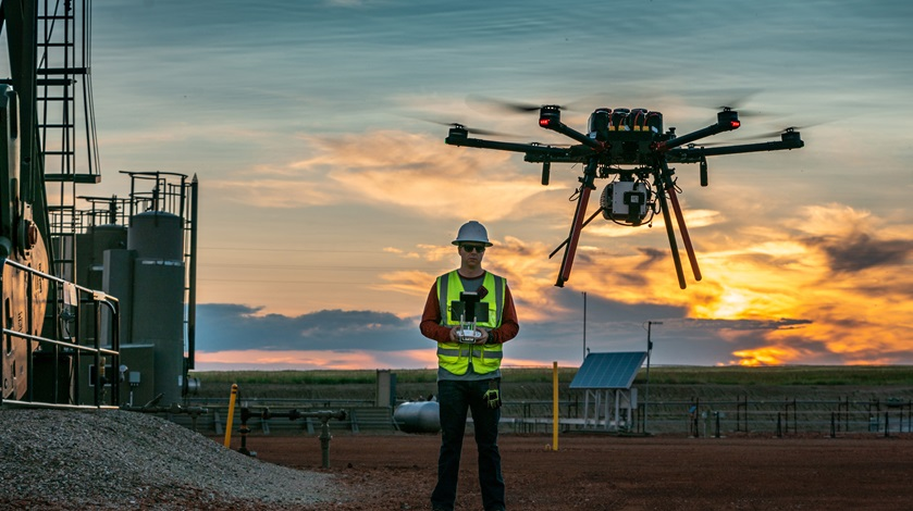 North Dakota-based unmanned aircraft systems operator SkySkopes conducts infrastructure inspections for the oil and gas industry. Photo courtesy of SkySkopes.