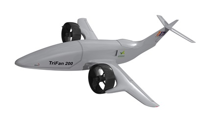 The TriFan 200 to be developed by XTI Aircraft will be unmanned and able to haul up to 500 pounds of cargo up to 200 nautical miles. VerdeGo will supply the hybrid powerplant. Image courtesy of XTI Aircraft Co.
