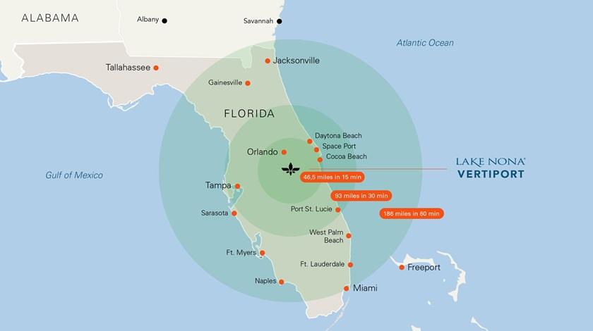 Lilium envisions a regional network of aircraft that will serve 20 million Floridians within Lilium Jet range of Orlando. Image courtesy of Lilium.