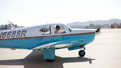 Harry Moyer taxis at San Luis County Regional Airport as part of his 100th birthday solo flight in his 1963 Mooney MK21. Photo by SLO Town Studios/Welcome Home Military Heroes.