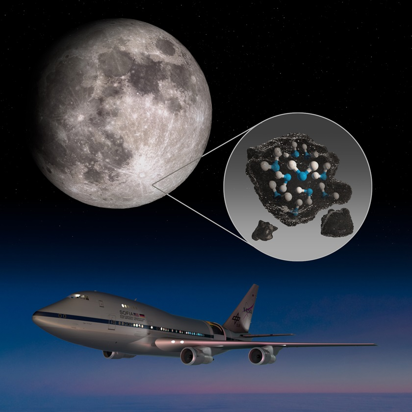 This illustration highlights the moon's Clavius Crater with an illustration depicting water trapped in the lunar soil there, along with an image of NASA's Stratospheric Observatory for Infrared Astronomy (SOFIA) that found sunlit lunar water. Graphic by NASA.