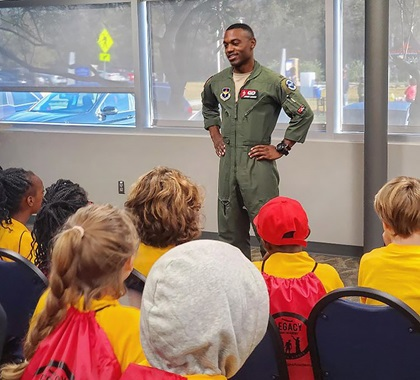 2nd Lt. Lawrence participates in youth programs with Legacy Flight Academy to inspire the next generation of aviators. Photo courtesy of 2nd Lt. Anthony Lawrence.