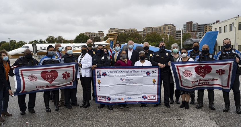 America's Operation Thank You general aviation flight relay carried a special banner and torch to 90 cities to honor coronavirus pandemic front-line personnel. Photo by David Tulis.