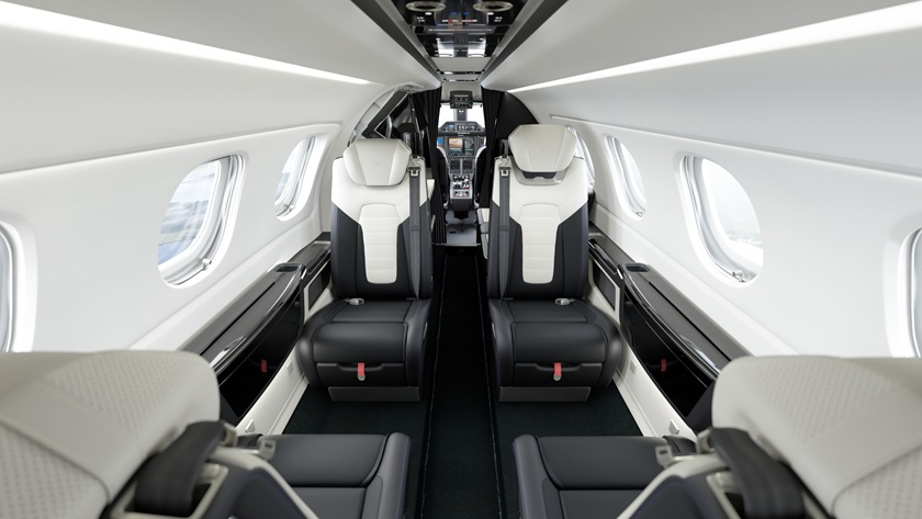 The Porsche 911 Turbo S seats will match the textured leather seating of the Phenom 300E, with blue stitching and the Duet's embossed and debossed logos. Photo courtesy of Embraer.