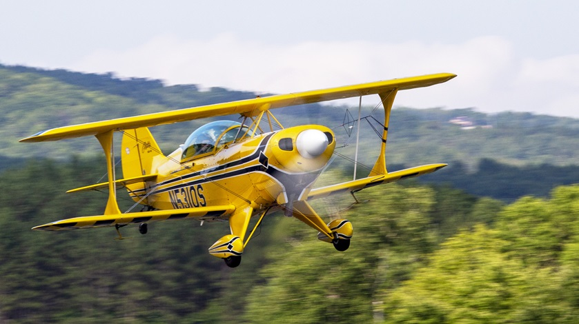 A Pitts S-2B has a little more interior space than some, but not much. Bill Gordon is seen here flying his at the 2015 Green Mountain Aerobatic Contest in Springfield, Vermont. Photo by Jim Moore.