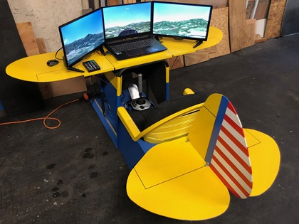 Ron Allen designed a sailplane simulator to provide Civil Air Patrol cadets with an affordable glider training option in lieu of towplane flights. Photo courtesy of Ron Allen.