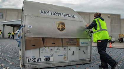 One of these boxes might wind up in a museum someday. Photo courtesy of UPS Inc.