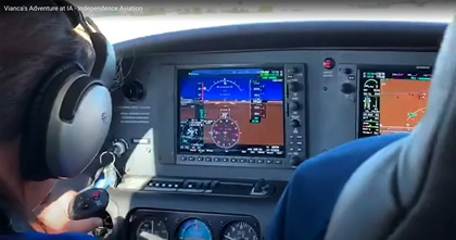 Vianca Marez, 12, who was born blind, controls a Cirrus SR20 with coaching and backup from Independence Aviation LLC owner and CFI Bob Stedman in Denver. Image courtesy of Angel Andres Rosado, Independence Aviation LLC.