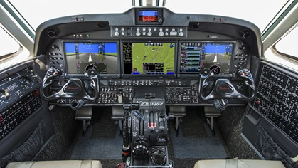 King Air 260s will come with three major cockpit changes as standard equipment: the addition of the Innovative SoIutions and Support ThrustSense Autothrottle, a digital pressurization controller, and a new cabin seat design. Photo courtesy of Textron.