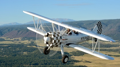 An Ageless Aviation Dreams Stearman flies near Castle Rock, Colorado, south of Denver. The organization just changed its name to Dream Flights. Photo by Mike Collins.