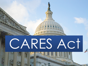 CARES Act text over Capital Building