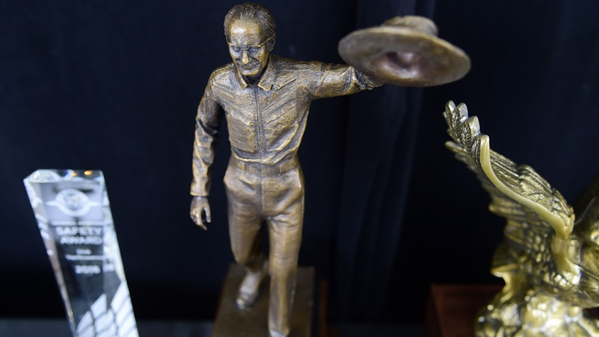 The Hoover Trophy, center, is the centerpiece of the fifth R.A. 'Bob' Hoover Trophy awards presented by AOPA. The virtual ceremony will be streamed live on February 3 at 8 p.m. Eastern time. Photo by David Tulis.