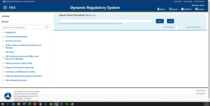 To research a topic from the Dynamic Regulatory System search page, type your topic in the search field at the top of the page and click Search or press Enter. On the results page that comes up you can also filter your results to narrow your search. Image courtesy of the FAA.