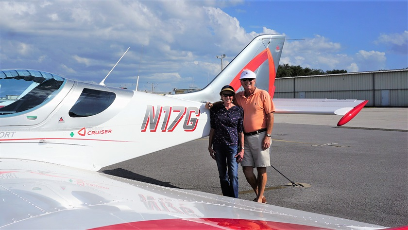 Rick Polinsky and his wife have owned a series of aircraft—a Piper Tomahawk, Piper Warrior, Beechcraft Sierra, Socata Trinidad, and Columbia 350—to match his progression through his pilot certificates and ratings, flying across the country and to the Bahamas. Now the two own a light sport Sport Cruiser and enjoy socially distanced flights around Florida. Photo courtesy of Rick Polinsky.