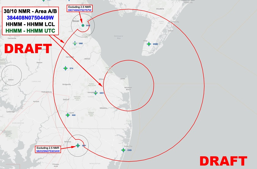 A draft version of a temporary flight restriction that the FAA expects to issue during President Joe Biden's visits to Rehoboth Beach, Delaware. Image courtesy of the FAA.