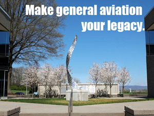 Make general aviation your legacy text over Legacy Court at AOPA Headquarters