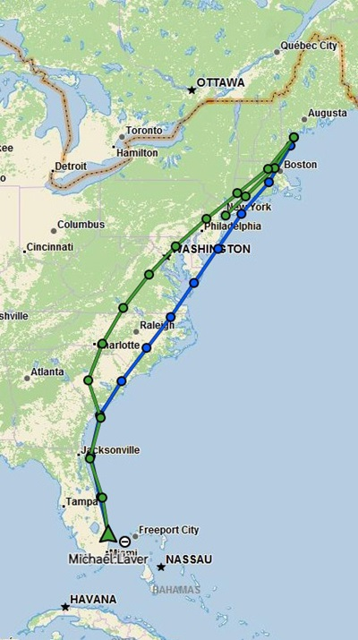 The flat-wing CitationJet had to make a fuel stop in South Carolina, nixing its hope of keeping up with the Tamarack active-winglet-equipped competitor. Garmin InReach graphic.