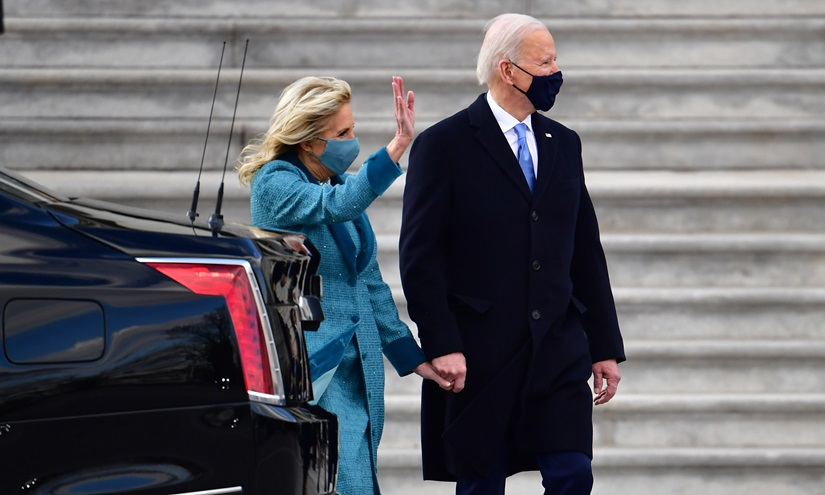 President Joe Biden and First Lady Jill Biden depart the U.S. Capitol after inauguration ceremonies in Washington, D.C., on Wednesday, January 20, 2021. Pool photo by David Tulis/UPI.