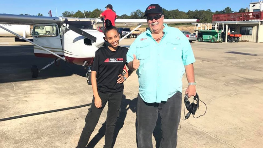 Morgan Johnson after passing her private pilote checkride. Photo courtesy of Red Tail Scholarship Foundation via Facebook.