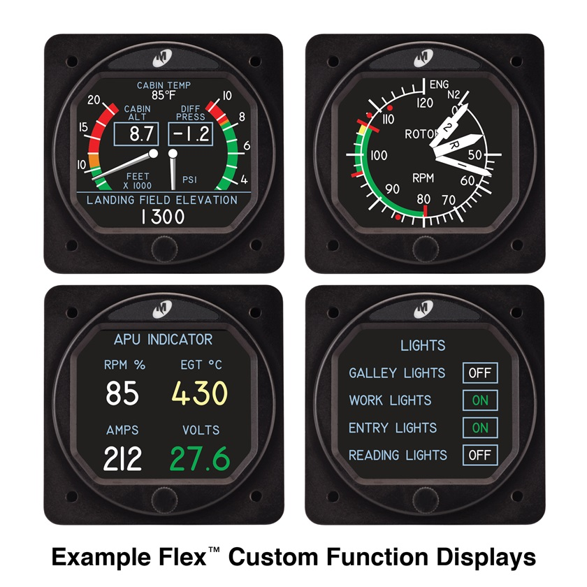 These are just a few of the many possible configurations of the MD23 Custom Function Display. Image courtesy of Mid-Continent Instruments and Avionics.