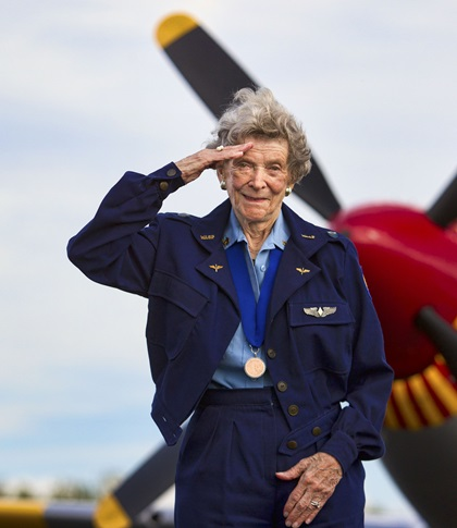 "Bernice ""Bee"" Falk Haydu, a member of the Women Airforce Service Pilots who served during World War II, died January 30 at age 100. Photo by Chris Rose."