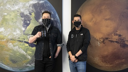 SpaceX founder Elon Musk, left, and fellow billionaire entrepreneur Jared Isaacman announced the Inspiration4 mission February 1. Photo courtesy of Inspiration4.