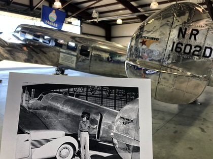 """Historic photo of Earhart with her Lockheed Electra 10-E near """"Muriel"""", an Electra L-10E that has been modified to look similar to Earhart's airplane. Photo by MeLinda Schnyder."""