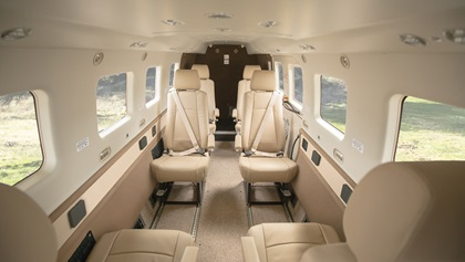 The Kodiak 100 Series III features club seating for eight in the cabin, along with air conditioning controls for the cockpit and cabin. Photo courtesy of Daher.