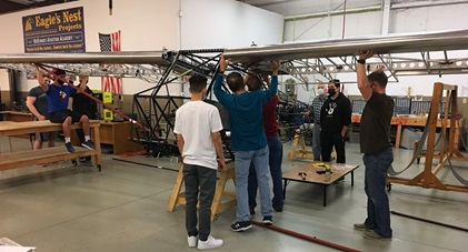 Mentors help Texas students construct a two-person, tube-and-fabric American Legend Aircraft Co. Legend Cub during a McKinney High School STEM class. Photo courtesy of American Legend Aircraft Co.