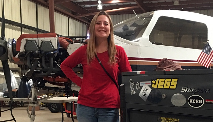 Student pilot and aircraft maintenance apprentice Meagan Huerta hopes to become an A&P, an emergency medical services pilot, a CFI, and a flight school owner. Photo courtesy of Meagan Huerta.