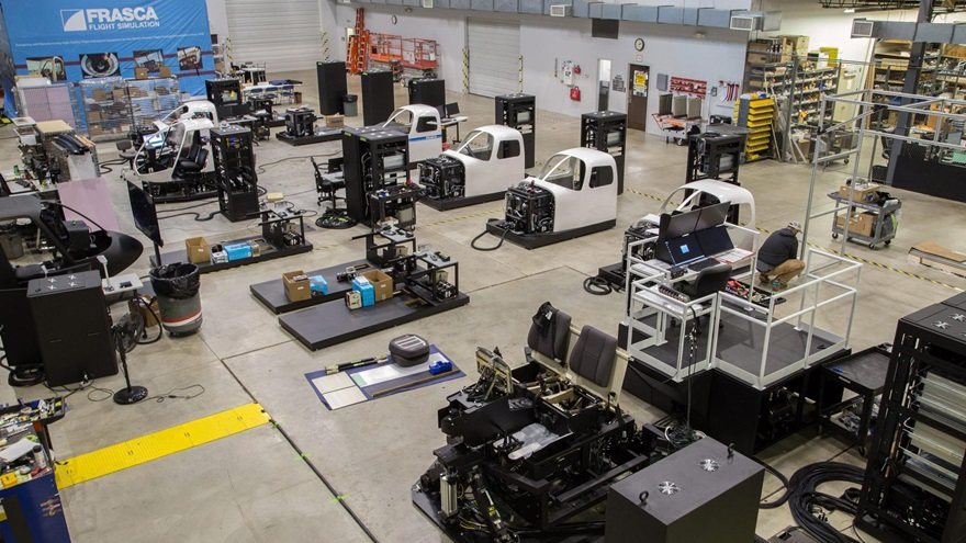 Frasca International uses a vertical approach to building its flight training devices and flight simulators, including in-house electrical, mechanical, aeronautical, software, and graphics engineering skills. Photo courtesy of Frasca International.