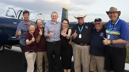 The NAFI and King Schools team welcome and celebrate with 2021 scholarship winner Allen Reenders at the Sun 'n Fun Aerospace Expo. (Left to right: King Schools CEO Barry Knuttila, King Schools co-founders Martha King and John King, Reenders and his wife Sandy, NAFI Chairman Robert Meder, NAFI Chairman Emeritus Ken Hoffmann, NAFI Board of Directors member J.D. DeBoskey). Photo courtesy of King Schools.