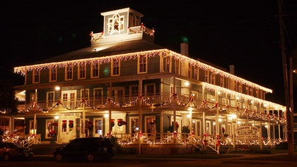 The Gibson Inn is decorated for the winter holidays in Apalachicola, Florida. Photo by David Tulis.