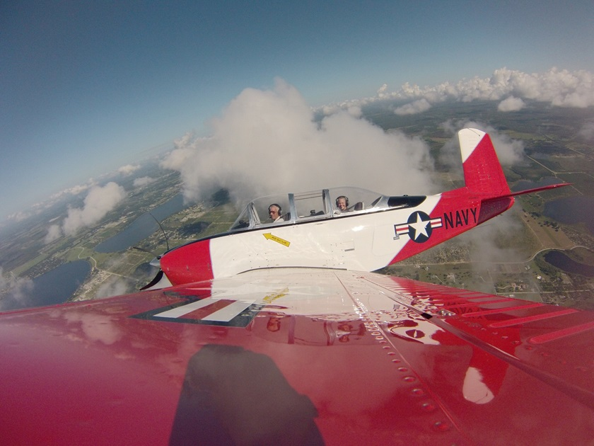 Janeen and Dennis Kochan have owned their Beechcraft T–34 Mentor for five years. Photo courtesy of Janeen Kochan.