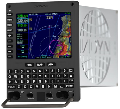 The Helios flight management system serves as an approved GPS position source for ADS-B. In addition to a moving map with airspace, navigation, and airport information display capabilities, the base unit can also display traffic and weather overlays. Optional add-ons include a helicopter terrain awareness and warning system with power line database, as well as night vision, radar, and RS-170 video display integration. Image courtesy of Avidyne.