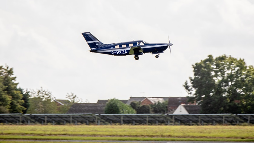 ZeroAvia's Piper test aircraft flew with a hydrogen fuel cell supplying power to the electric motor on September 24, 2020, in Cranfield, England. The aircraft was damaged in an off-airport landing during a test flight on April 29, 2021. Photo courtesy of ZeroAvia.