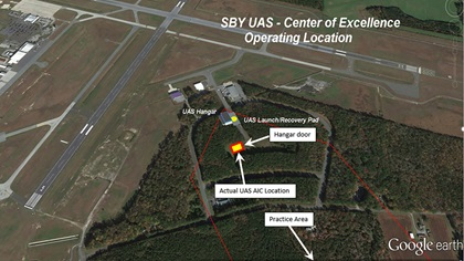 An annotated Google Earth view of the Salisbury-Ocean City Wicomico Regional Airport shows the new UAS Autonomous Innovation Center positioned in the crux of two runways. The airport acreage allows for a practice area located southeast of the UAS facility. Image courtesy of Salisbury Regional Airport.